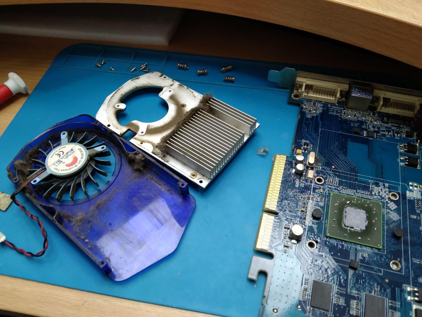 Ремонт системы охлаждения видеокарты